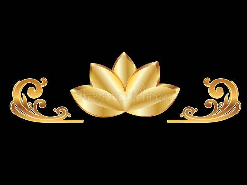 kwiatu złota lotos royalty ilustracja