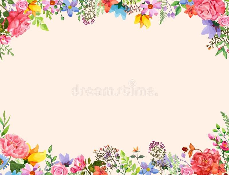 Kwiatu zaproszenia projekta Ramowy szablon wektorowa ilustracja z akwarela stylem Piękni kwiaty i ulistnienia tło royalty ilustracja