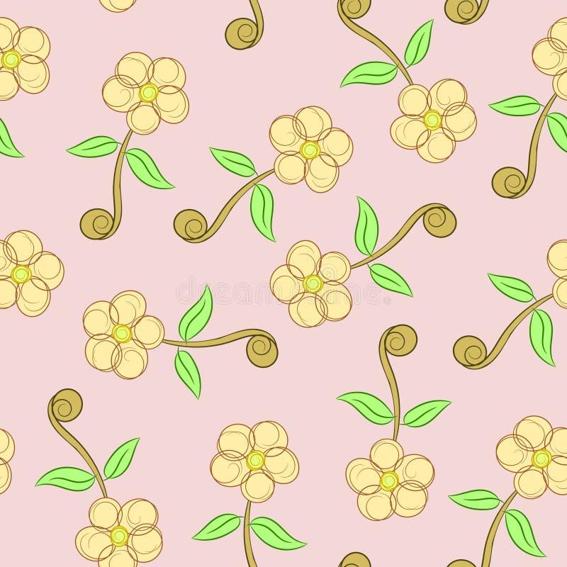 Kwiatu zawijasa tekstury Bezszwowy Wektorowy Abstrakcjonistyczny tło royalty ilustracja