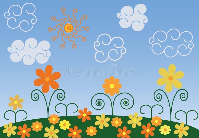 kwiaty łąkę ilustracji