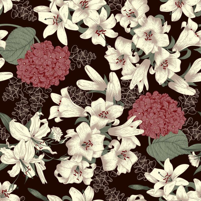 Kwiaty białe lilie tło bezszwowy wektora Rocznika kwiecisty wzór botanika ilustracji
