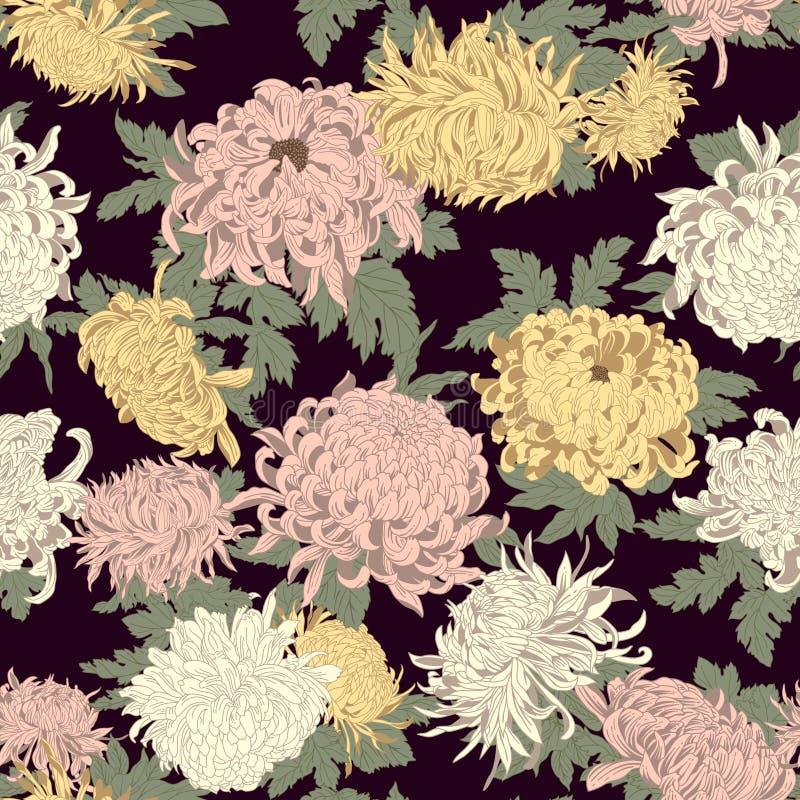 Kwiaty chryzantemy Bezszwowy wektorowy tło w rocznika stylu ilustracja wektor