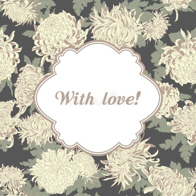 Kwiaty chryzantemy 8 eps ramy wektoru rocznik botanika motyla opadowy kwiecisty kwiatów serca wzoru kolor żółty royalty ilustracja