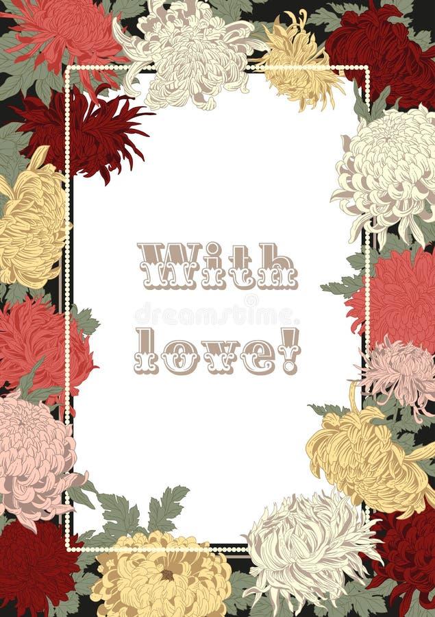 Kwiaty chryzantemy 8 eps ramy wektoru rocznik botanika motyla opadowy kwiecisty kwiatów serca wzoru kolor żółty ilustracji