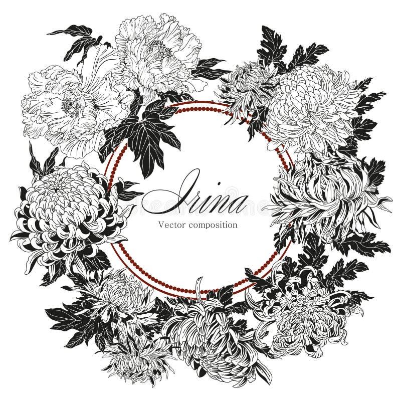 Kwiaty Chryzantemy i peonie Wektorowa rocznik ilustracja kwiat rama ornament kwiecisty Klasyk karta botanika royalty ilustracja