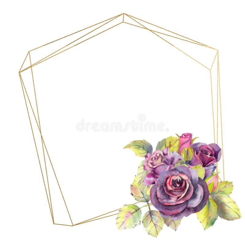 Kwiaty ciemne róże, zieleń opuszczają w geometrycznej Złotej ramie, skład Pojęcie ślubni kwiaty akwarela royalty ilustracja