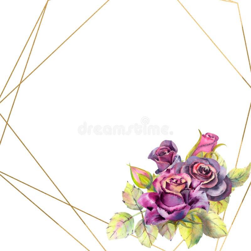 Kwiaty ciemne róże, zieleń opuszczają w geometrycznej Złotej ramie, skład Pojęcie ślubni kwiaty royalty ilustracja