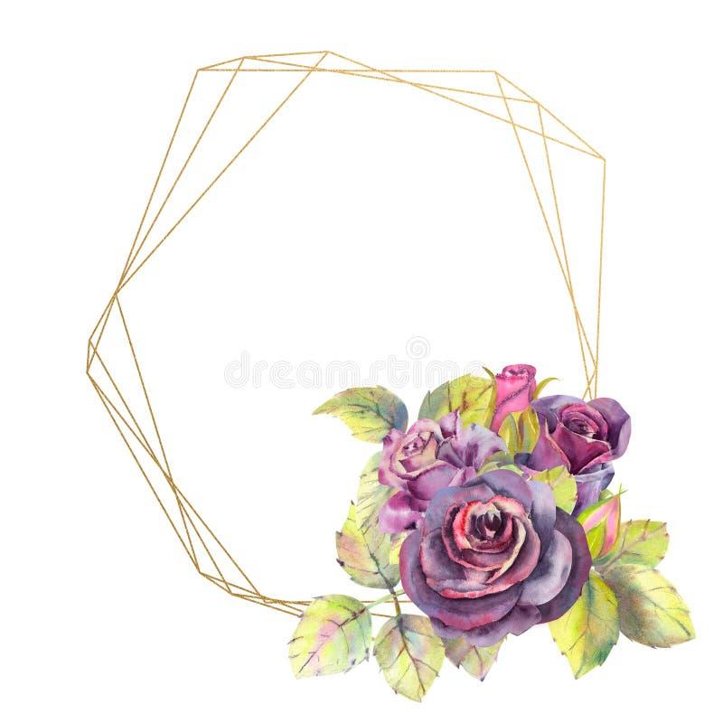 Kwiaty ciemne r??e, ziele? opuszczaj? w geometrycznej Z?otej ramie, sk?ad Poj?cie ?lubni kwiaty ilustracja wektor