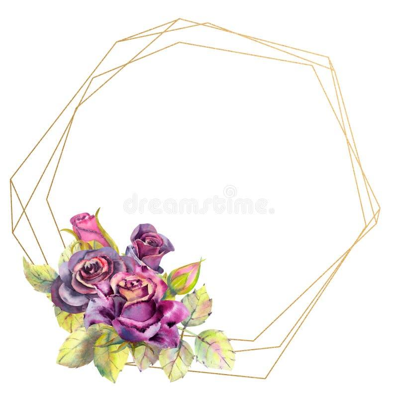 Kwiaty ciemne r??e, ziele? opuszczaj? w geometrycznej Z?otej ramie, sk?ad Poj?cie ?lubni kwiaty ilustracji