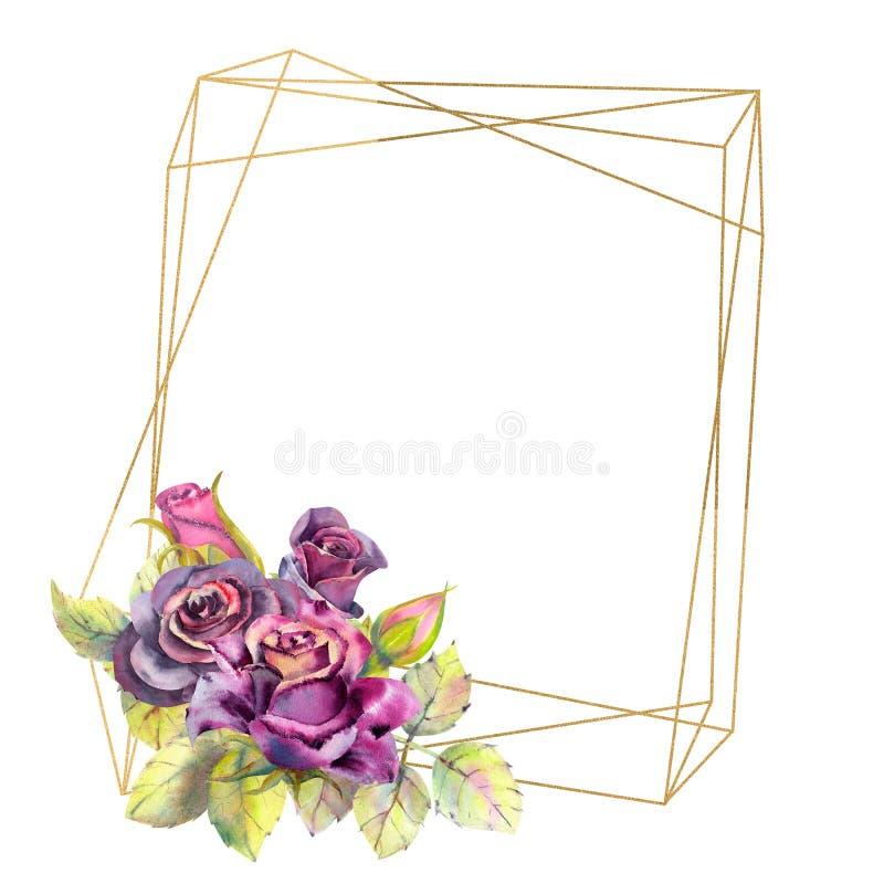 Kwiaty ciemne r??e, ziele? opuszczaj? w geometrycznej Z?otej ramie, sk?ad Poj?cie ?lubni kwiaty royalty ilustracja