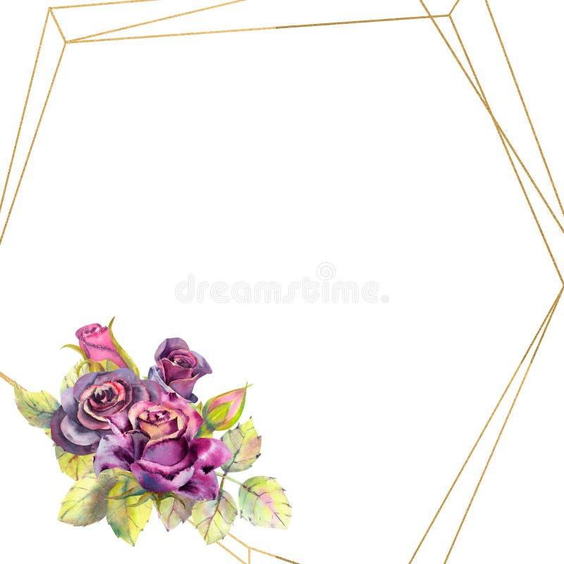 Kwiaty ciemne r??e, ziele? opuszczaj? w geometrycznej Z?otej ramie, sk?ad Poj?cie ?lubni kwiaty Kwiatu plakat, royalty ilustracja