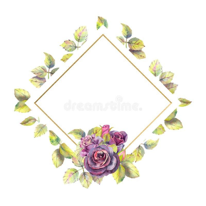 Kwiaty ciemne r??e, ziele? opuszczaj? w geometrycznej z?oto ramie sk?ad Poj?cie ?lubni kwiaty royalty ilustracja