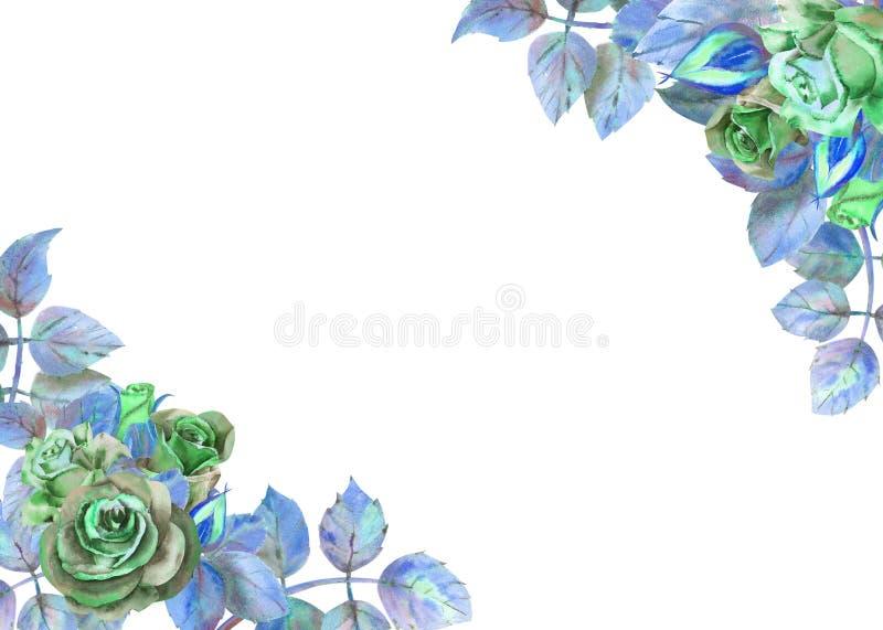 Kwiaty ciemne r??e, zieleni li?cie, sk?ad Horyzontalna ramowa orientacja Poj?cie ?lubni kwiaty royalty ilustracja