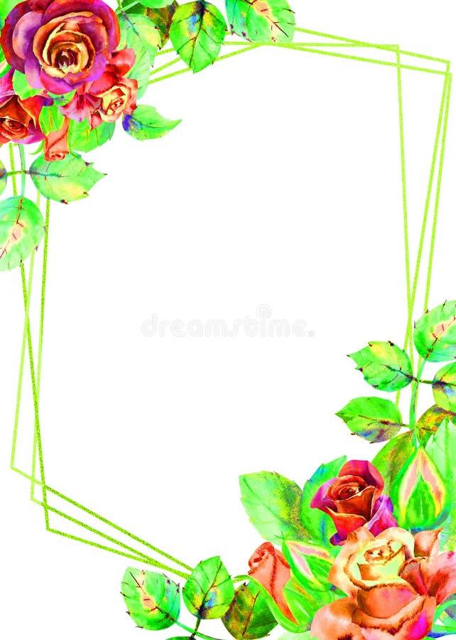 Kwiaty ciemne r??e, zieleni li?cie, sk?ad Pionowo orientacja rama Poj?cie ?lubni kwiaty ilustracji
