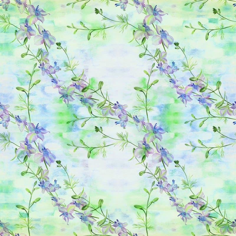 Kwiaty - dekoracyjny skład akwarela bezszwowy wzoru Używa drukowanych materiały, znaki, rzeczy, strony internetowe, mapy, plakaty ilustracja wektor