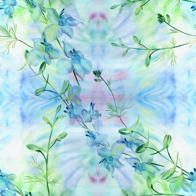 Kwiaty - dekoracyjny skład akwarela bezszwowy wzoru Używa drukowanych materiały, znaki, rzeczy, strony internetowe, mapy, plakaty royalty ilustracja
