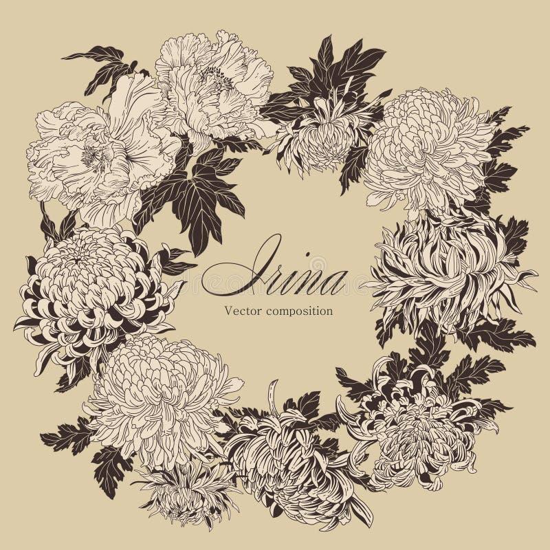 Kwiaty Elegancka rama z kwiatami Chrysanthem ilustracji