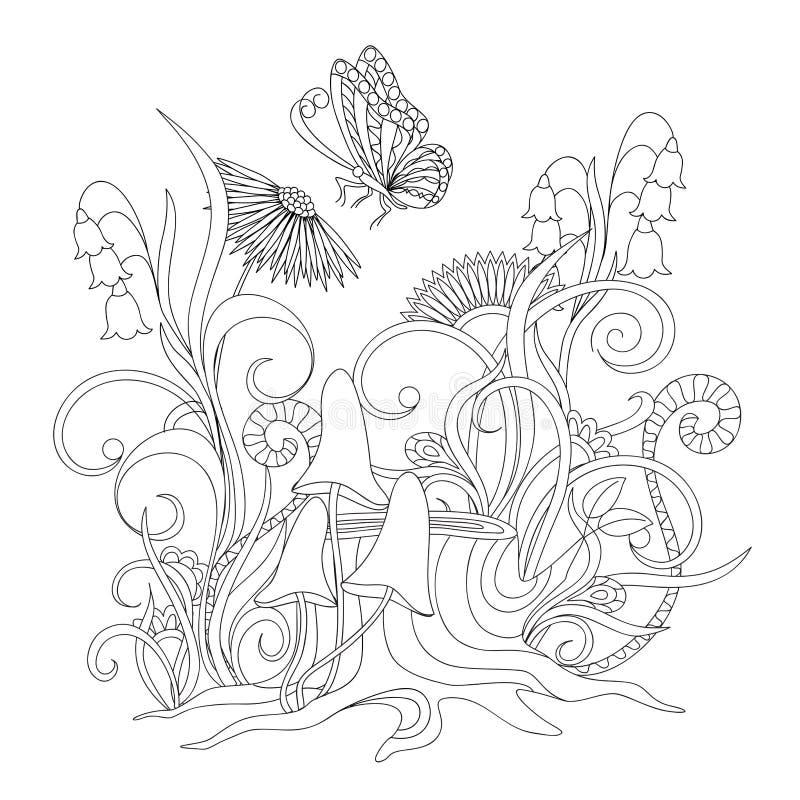 Kwiaty, fiszorek z korzeniami i motyl, ilustracja wektor