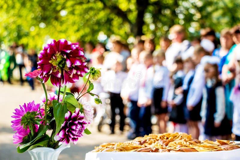 Kwiaty Georgina w szkole podczas wakacje na zamazanym background_ fotografia royalty free