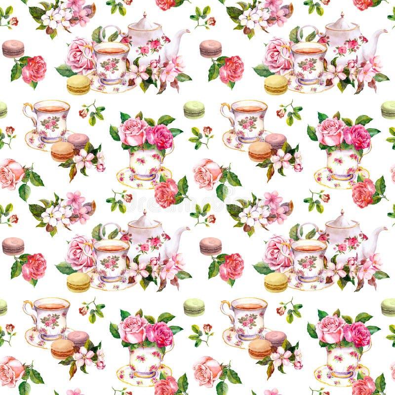 Kwiaty, herbaciana filiżanka, torty, macaroons, garnek akwarela Bezszwowy tło fotografia royalty free