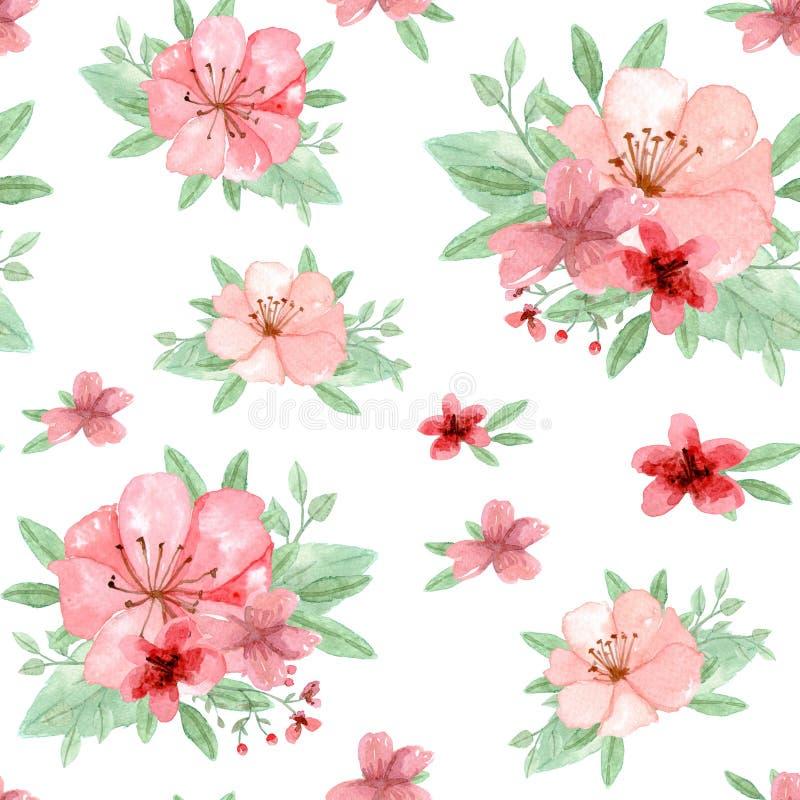 Kwiaty i liście deseniują, Kwiecisty element royalty ilustracja