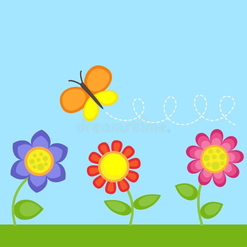 Kwiaty i motyl ilustracja wektor