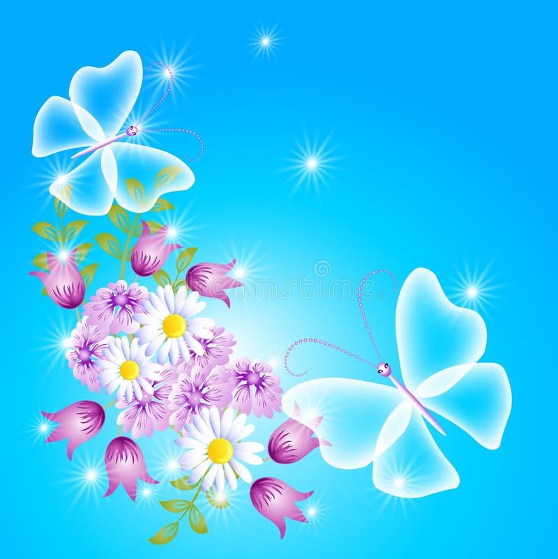 Kwiaty i przejrzysty motyl royalty ilustracja
