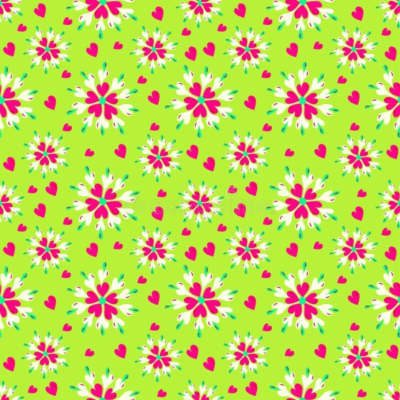 Kwiaty i serca na zielonego tła bezszwowym wzorze ilustracji