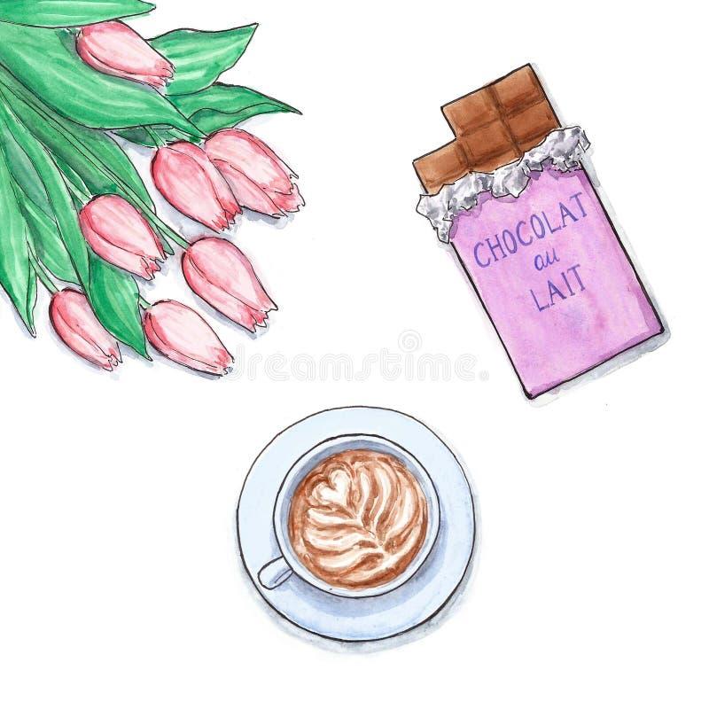 Kwiaty, ilustracja, różowi tulipany i dojny czekoladowy bar, czekolady i kawy - grafika uwypukla cappuccino, ilustracja wektor