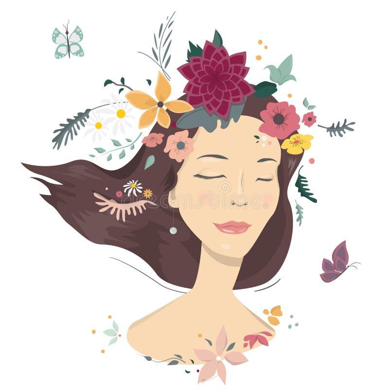 kwiaty kobiety ilustracja wektor
