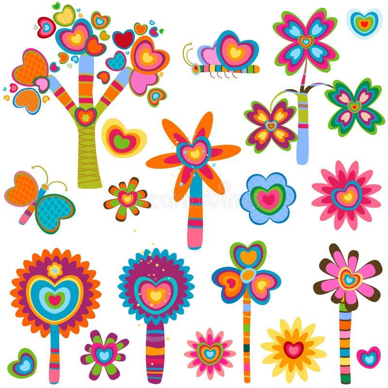 kwiaty kochają retro ilustracji