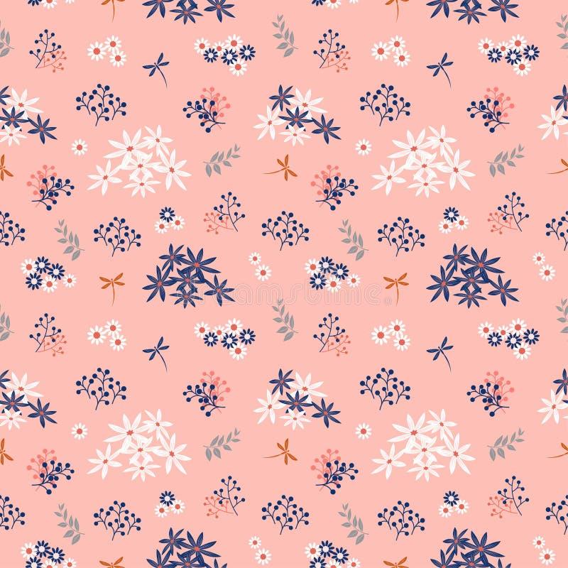 Kwiaty kwitnie ogrodowego bezszwowego wzór na pastelowym nastroju ilustracja wektor