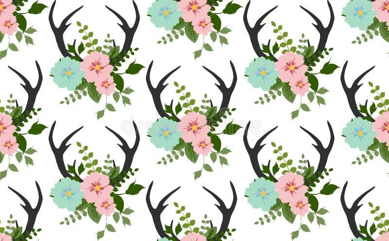 Kwiaty, liście, poroże bezszwowy wzór ilustracji