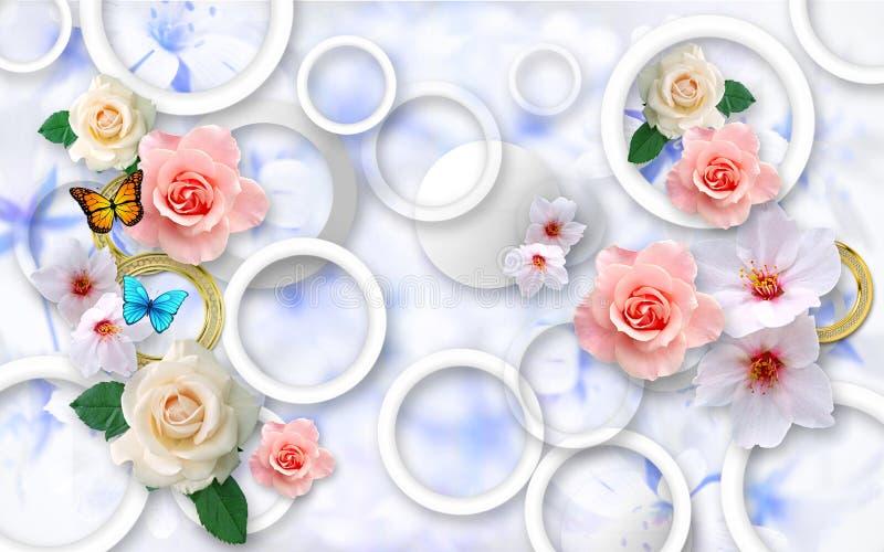 Kwiaty na abstrakcjonistycznym tle 3D tapety dla ścian 3 d czynią royalty ilustracja