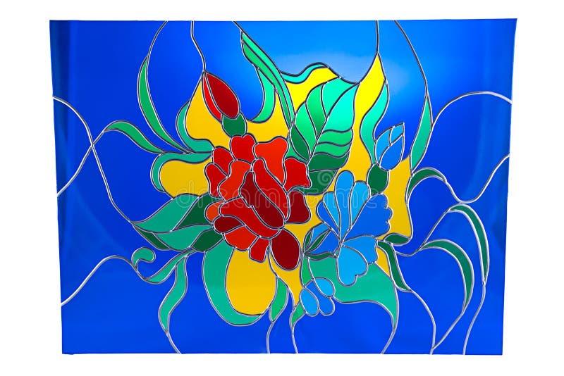 Kwiaty na błękitnym tle - witraż obraz stock
