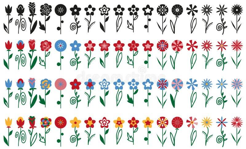 Kwiaty na badyl ikonach royalty ilustracja