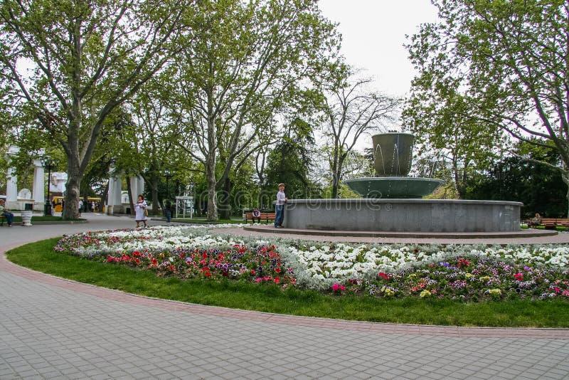Kwiaty na kwiatów łóżkach na bulwarze zdjęcie stock