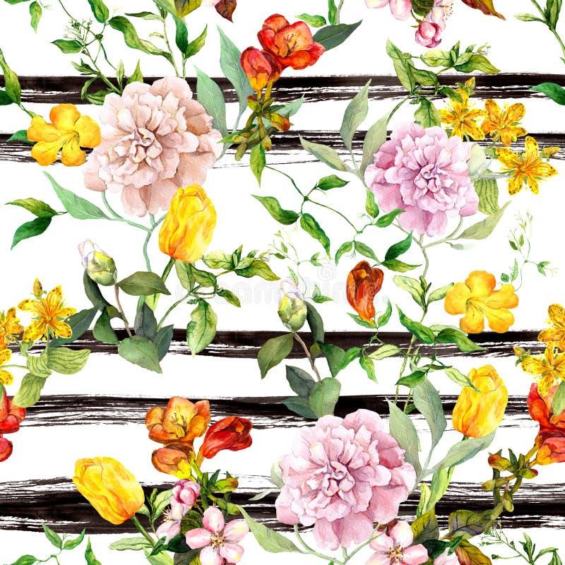 Kwiaty na monochromu pasiastym tle powtórzyć kwiecisty tła Akwarela z czarnymi lampasami ilustracja wektor