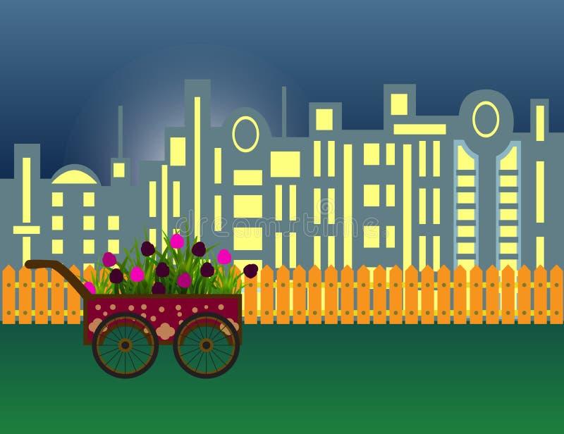 kwiaty na nowożytnej nocy miasta sylwetce i drewnianym ogrodzeniu royalty ilustracja