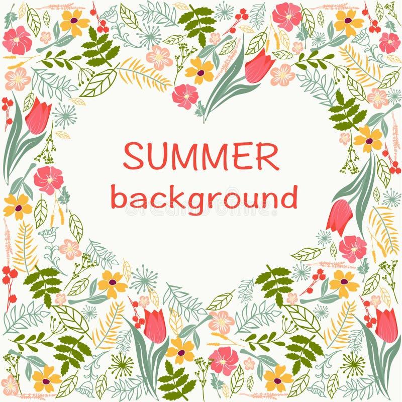 Kwiaty obramiają z kolorowym kwiecistym kierowym lato czasu tematem ilustracja wektor