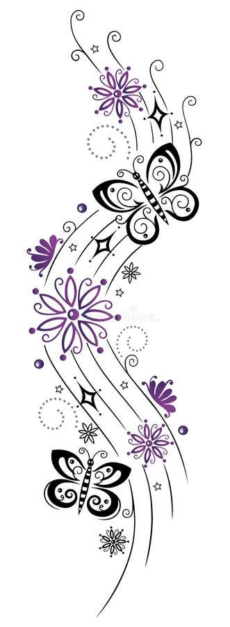 Download Kwiaty, okwitnięcia, motyl ilustracja wektor. Obraz złożonej z klasyczny - 33652706