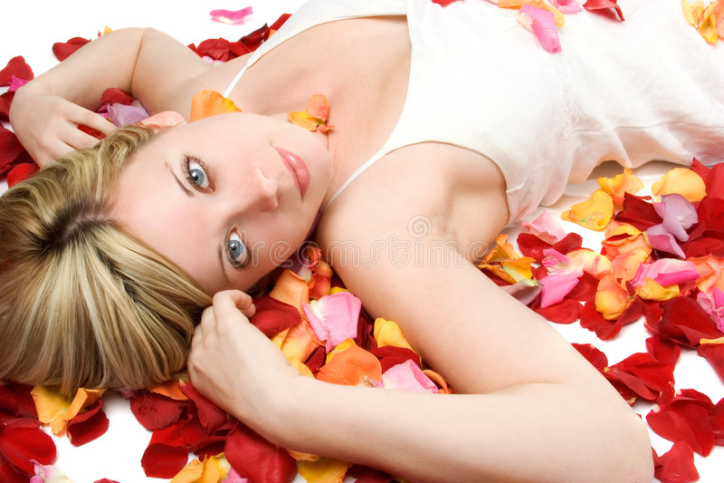 kwiaty płatków kobieta fotografia stock
