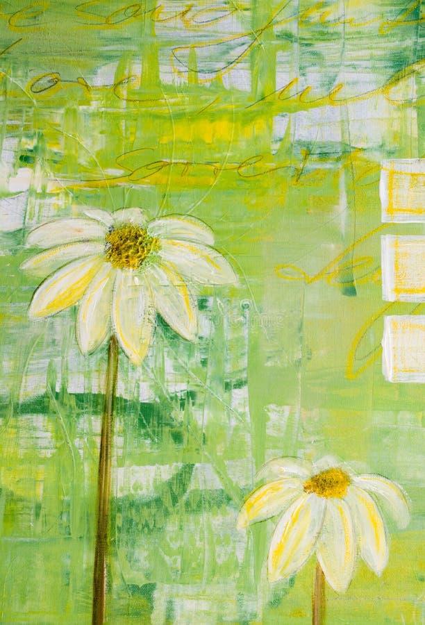 kwiaty pomalowane daisy ilustracja wektor