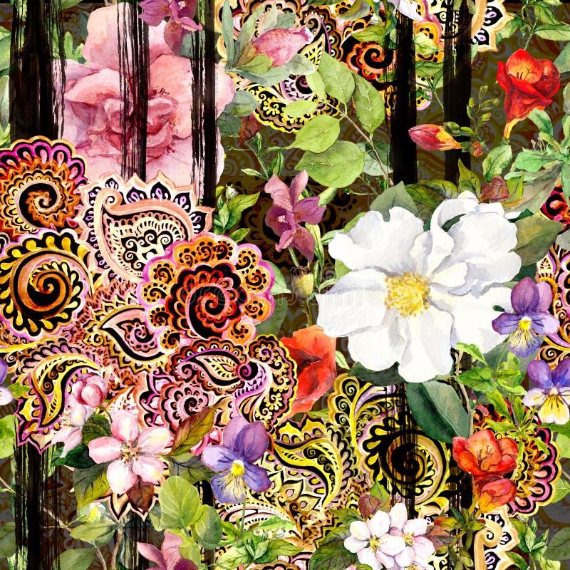 Kwiaty przy czarnym pasiastym tłem Wielostrzałowy kwiecisty wzór z dekoracyjną ozdobną broderią Akwarela z czernią ilustracja wektor