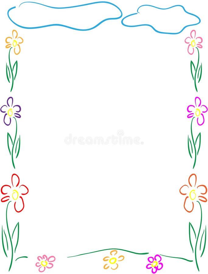 Kwiaty rama lub granica royalty ilustracja