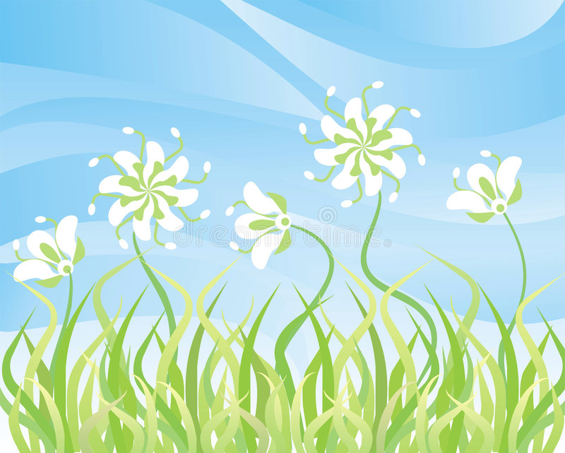 kwiaty tła nieba trawy, wektor royalty ilustracja