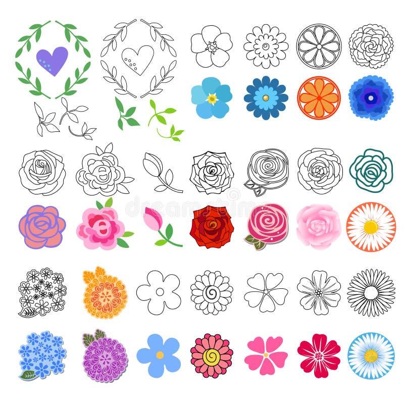Kwiaty ustawiający (różni style rysujący) royalty ilustracja
