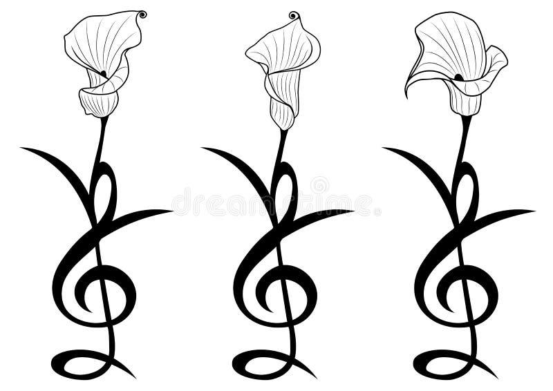 kwiaty ustawiający stylizującymi ilustracja wektor