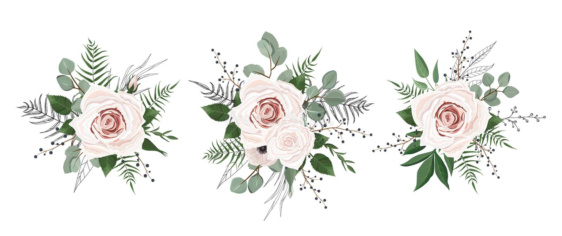 kwiaty ustawiający wektor Kolorowa kwiecista kolekcja z liśćmi i kwiatami ilustracja wektor