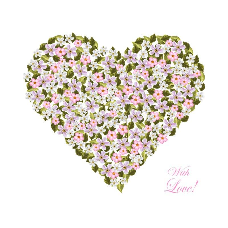 Kwiaty w formie serca royalty ilustracja